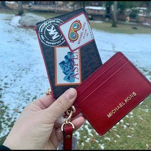 NWT MK Aspen Small Card Case Duo Brown Multi Color
